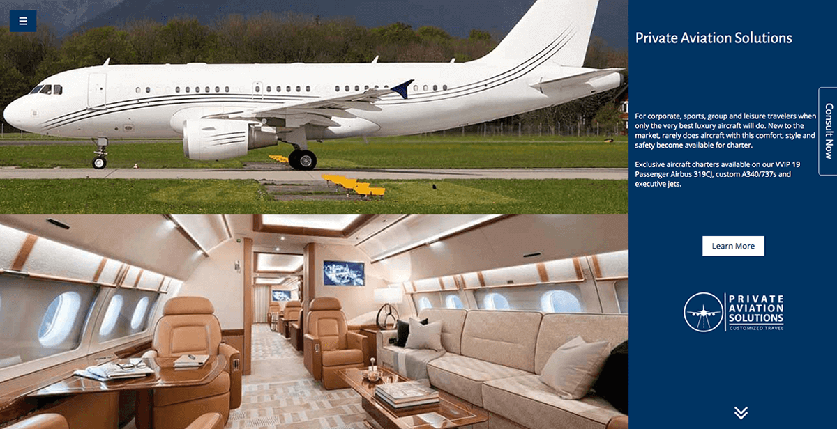 website design and SEO services for private jet charter companies